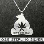 Weed dont care bear Handmade 925 Sterling Silver Pendant Necklace