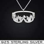 Skiing Handmade 925 Sterling Silver Pendant Necklace