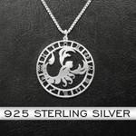 Zodiac Scorpion Handmade 925 Sterling Silver Pendant Necklace