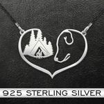 Camping with dog heart Handmade 925 Sterling Silver Pendant Necklace