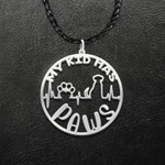 Dog Paw Mom My Kid Has Paws Handmade 925 Sterling Silver Pendant Necklace