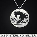 Mountain bike Handmade 925 Sterling Silver Pendant Necklace