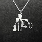 Tennis Mom And Son Handmade 925 Sterling Silver Pendant Necklace