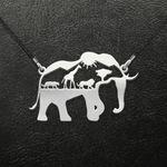 Black Africa Animal Pattern Elephant Handmade 925 Sterling Silver Pendant Necklace