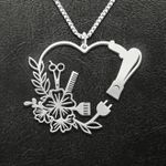 Hairstylist flower heart Handmade 925 Sterling Silver Pendant Necklace