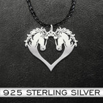Horse Horse Couple Heart Handmade 925 Sterling Silver Pendant Necklace