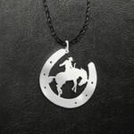 Cowboy Horseshoe Hopping Horse Handmade 925 Sterling Silver Pendant Necklace