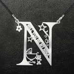 Godmother N Baby Alphabet Will You Be My Nina Handmade 925 Sterling Silver Pendant Necklace