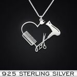Hair stylist heart Handmade 925 Sterling Silver Pendant Necklace
