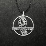 Best Bonus dad ever Handmade 925 Sterling Silver Pendant Necklace