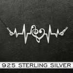 Music   Music Heartbeat  925 Necklace Handmade 925 Sterling Silver Pendant Necklace