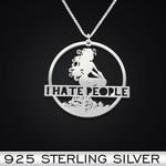 I Hate People Mermaid Handmade 925 Sterling Silver Pendant Necklace