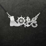Military Mom Navy Marine Corps Love Shaped Handmade 925 Sterling Silver Pendant Necklace