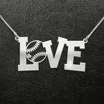 Baseball Baseball Love Handmade 925 Sterling Silver Pendant Necklace