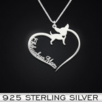 Chihuahua Heart Mom Handmade 925 Sterling Silver Pendant Necklace