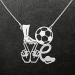 Football Football Love Handmade 925 Sterling Silver Pendant Necklace