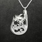 Fishing deer duck hunting Handmade 925 Sterling Silver Pendant Necklace