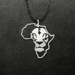 Juneteenth Africa Continent of Lion Handmade 925 Sterling Silver Pendant Necklace