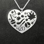 Weed item pattern Handmade 925 Sterling Silver Pendant Necklace