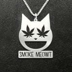 Weed smoke meowt Handmade 925 Sterling Silver Pendant Necklace