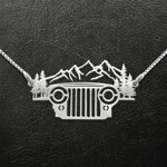 Jeep into the forest i go Handmade 925 Sterling Silver Pendant Necklace