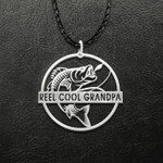 Fishing Reel Cool Grandpa Handmade 925 Sterling Silver Pendant Necklace