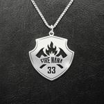 Firefighter Badge Fire Nana Handmade 925 Sterling Silver Pendant Necklace