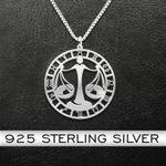 Zodiac Libra Handmade 925 Sterling Silver Pendant Necklace