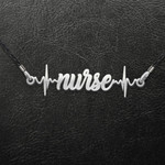 Nurse Heartbeat Handmade 925 Sterling Silver Pendant Necklace