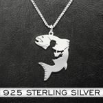 Fisher Man Necklace Handmade 925 Sterling Silver Pendant Necklace