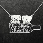 Rescue Dog Mom Dog Mother Wine Lover Handmade 925 Sterling Silver Pendant Necklace