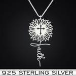 Jesus Sunflower Faith Handmade 925 Sterling Silver Pendant Necklace
