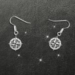 Camping Compass Handmade 925 Sterling Silver Earrings