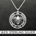 Bee King Of The Hive Handmade 925 Sterling Silver Pendant Necklace