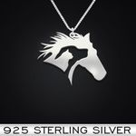 Horse Dog Cat Handmade 925 Sterling Silver Pendant Necklace