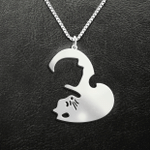 Couple cat yin yang Handmade 925 Sterling Silver Pendant Necklace