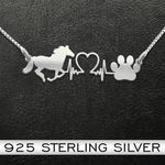 Horse| Horse And Dog Paw Heartbeat | 925 Necklace Handmade 925 Sterling Silver Pendant Necklace