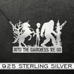 Bigfoot Alien Unicorn Into The Darkness We Go Handmade 925 Sterling Silver Pendant Necklace
