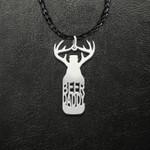 Deer Antler Hunting Season Beer Daddy Handmade 925 Sterling Silver Pendant Necklace