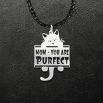 Pet Rescue Cat Mom You Are Purfect Perfect Handmade 925 Sterling Silver Pendant Necklace