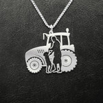 Farm Girl With Farmer Dad Tractor Handmade 925 Sterling Silver Pendant Necklace