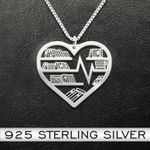 Reading book lovers Handmade 925 Sterling Silver Pendant Necklace