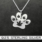 Weed And Dogs Necklace Handmade 925 Sterling Silver Pendant Necklace
