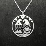 Gnome couple valentine Handmade 925 Sterling Silver Pendant Necklace
