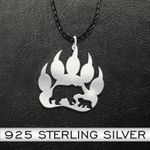 Bear Bear Paw Mother And Son Handmade 925 Sterling Silver Pendant Necklace