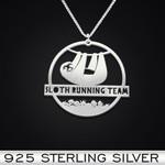 Sloth running team Handmade 925 Sterling Silver Pendant Necklace
