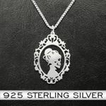 Day of the dead skull couple Handmade 925 Sterling Silver Pendant Necklace