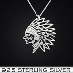 Native Chief Handmade 925 Sterling Silver Pendant Necklace