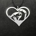Valentine Otter Couple Heart Handmade 925 Sterling Silver Pendant Necklace