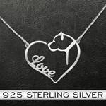 Dog Pitbull Love Heart Handmade 925 Sterling Silver Pendant Necklace